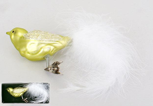 Елочное украшение Птица на прищепке 16см