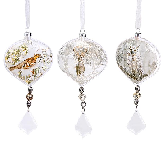 Елочное украшение 18см в форме луковицы с картинкой в стиле винтаж, 3 вида