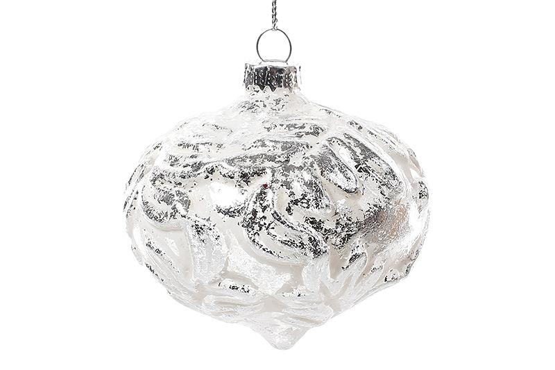 Елочное украшение 7.5см, белый с серебром
