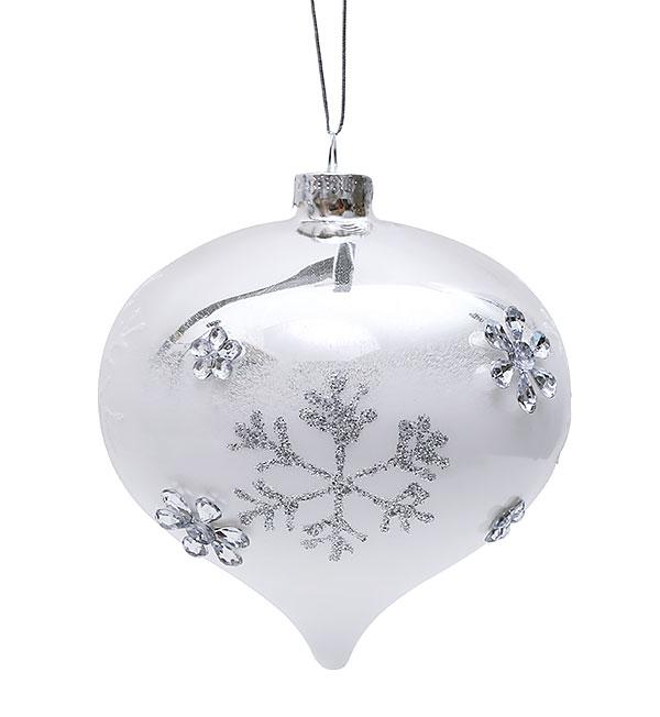 Елочное украшение в форме луковицы 10см с декором Снежинки BonaDi NY25-547