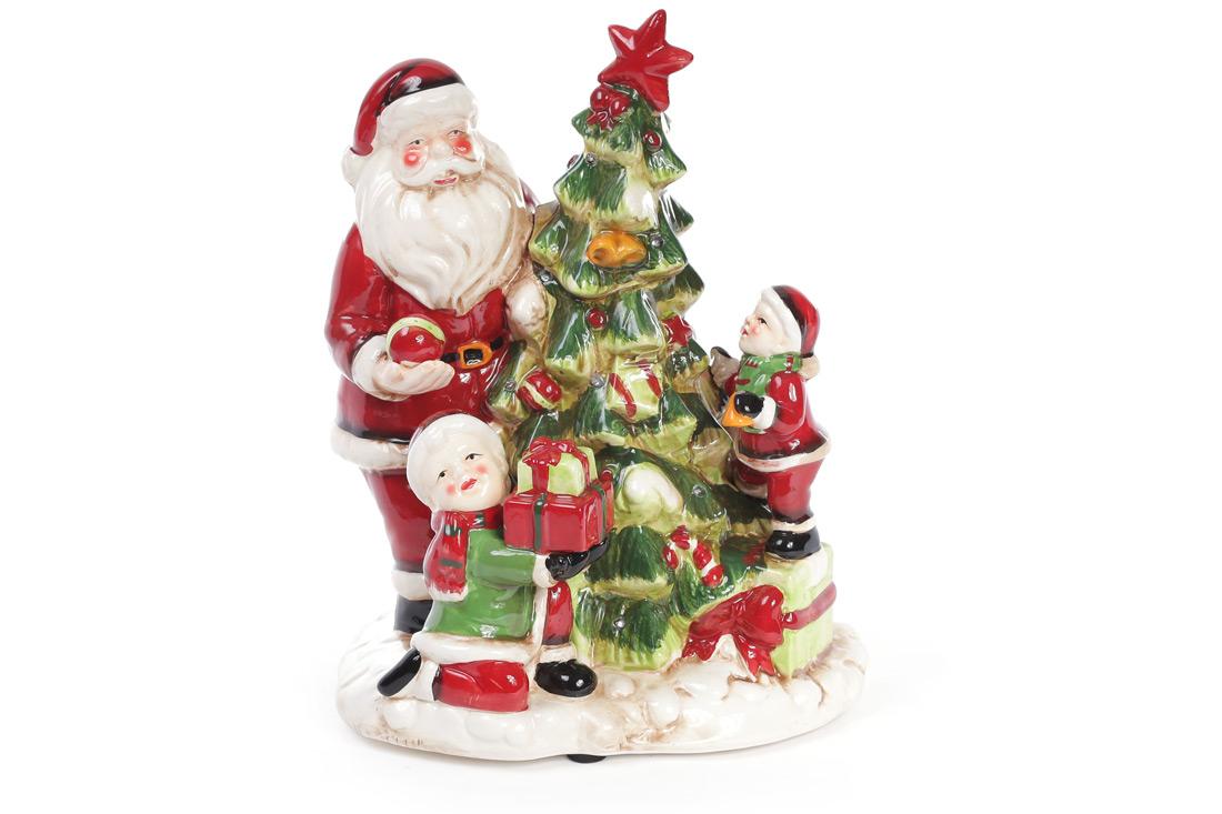 Декоративная музыкальная статуэтка Санта у елки с LED-подсветкой 28см (2 режима - подсветка и подсветка с музыкой)