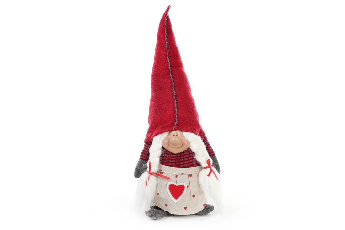 Новогодняя декоративная кукла Гном 40см, цвет - красный