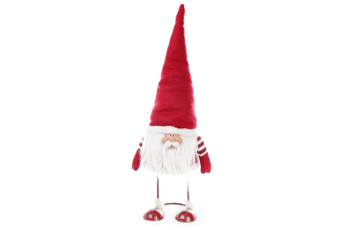 Новогодняя декоративная кукла Гном 56см, цвет - красный