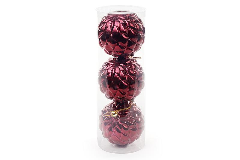 Набор елочных шаров (3 шт) 8см, бордовый BonaDi 105-005