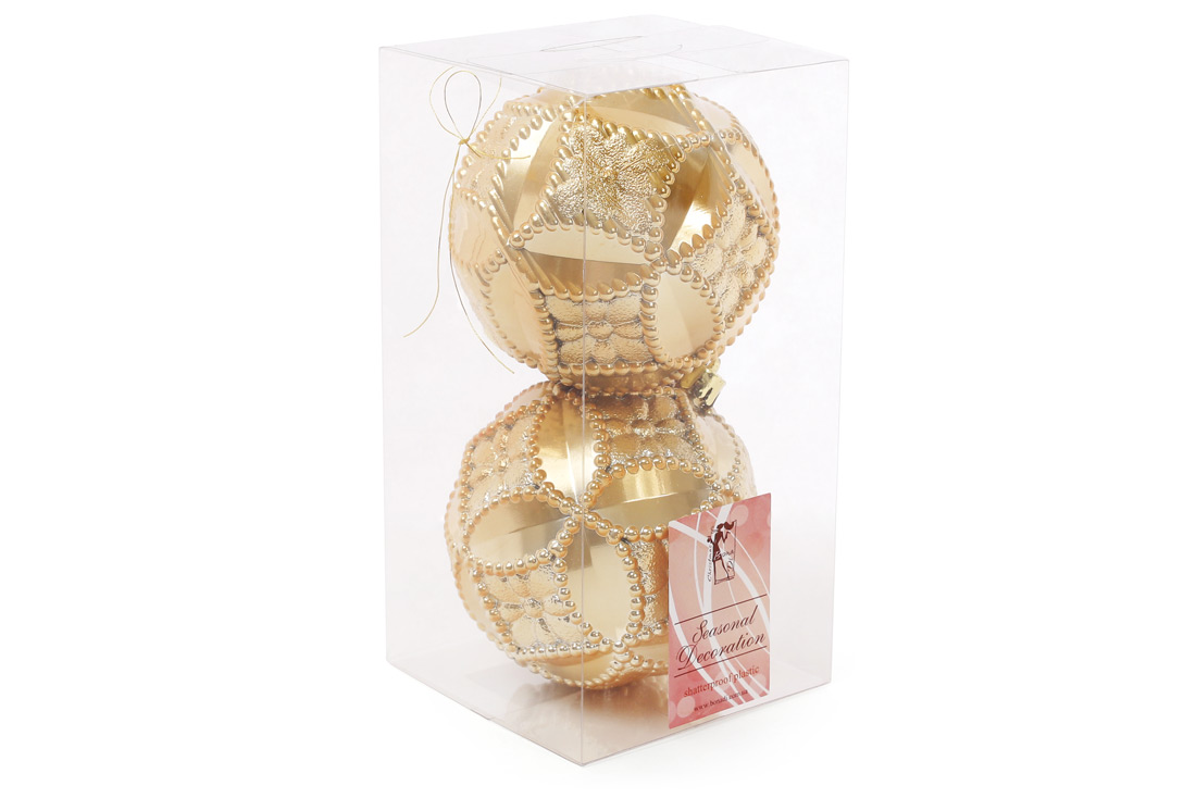 Набор елочных шаров с рельефом 10см цвет - яркое золото 2 шт: перламутр BonaDi 147-018
