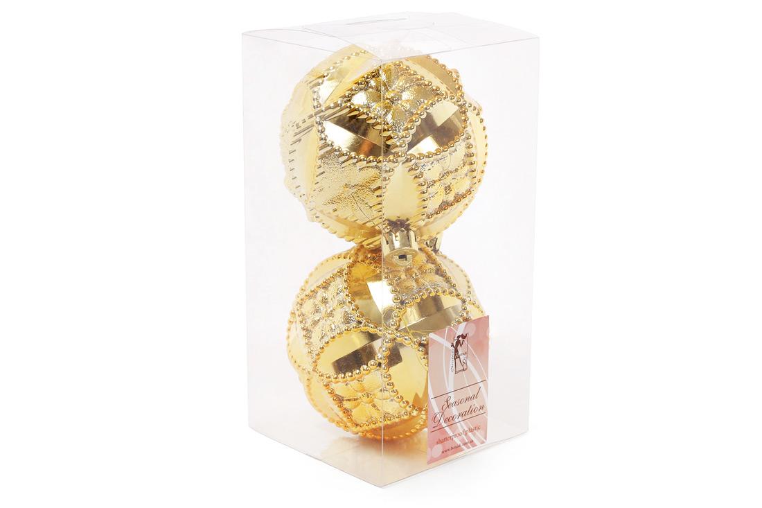Набор елочных шаров с рельефом 10см цвет - яркое золото 2 шт: глянец BonaDi 147-019