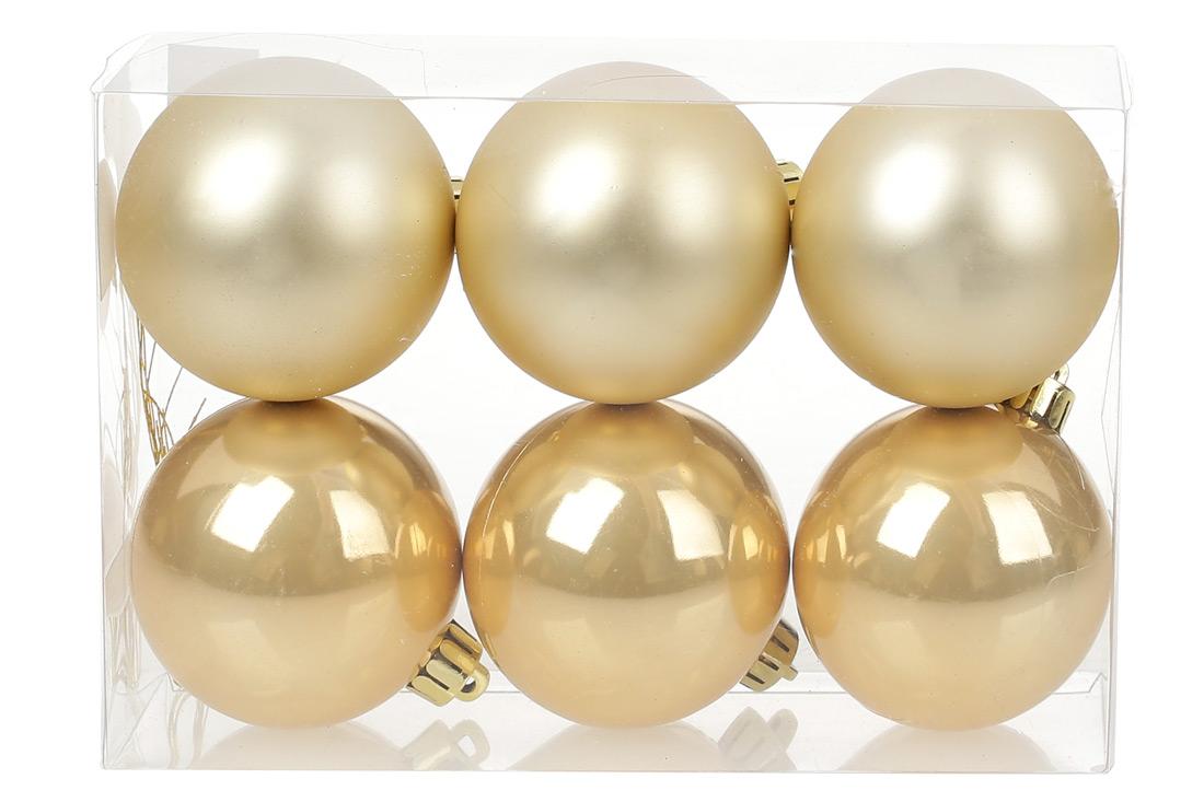 Набор елочных шаров 6см, цвет - светлое золото, 6шт: матовый, перламутр - по 3шт