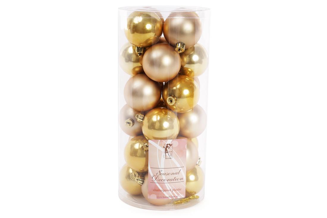 Набор елочных шаров, 6см, 24шт; цвет - светлое золото, 12шт - перламутр, 12шт - матовый