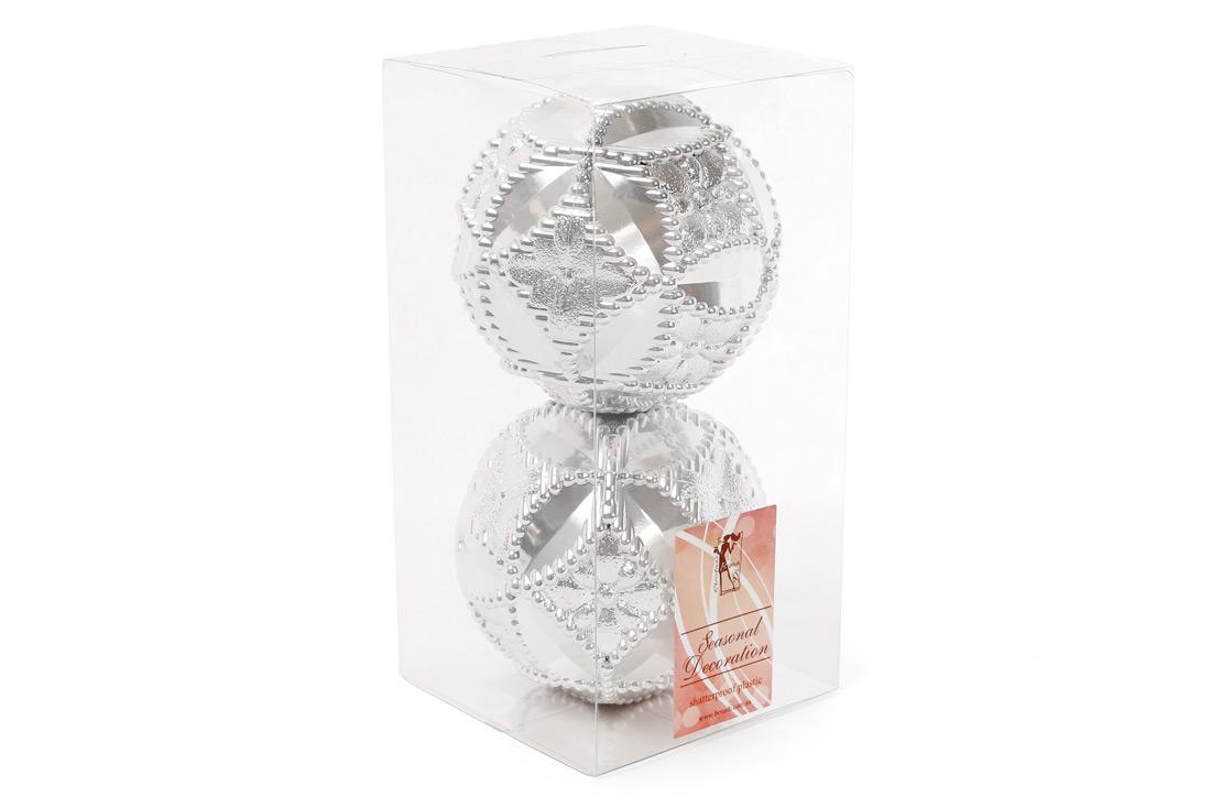 Набор елочных шаров с рельефом 10см цвет - серебро 2 шт перламутр BonaDi 147-192