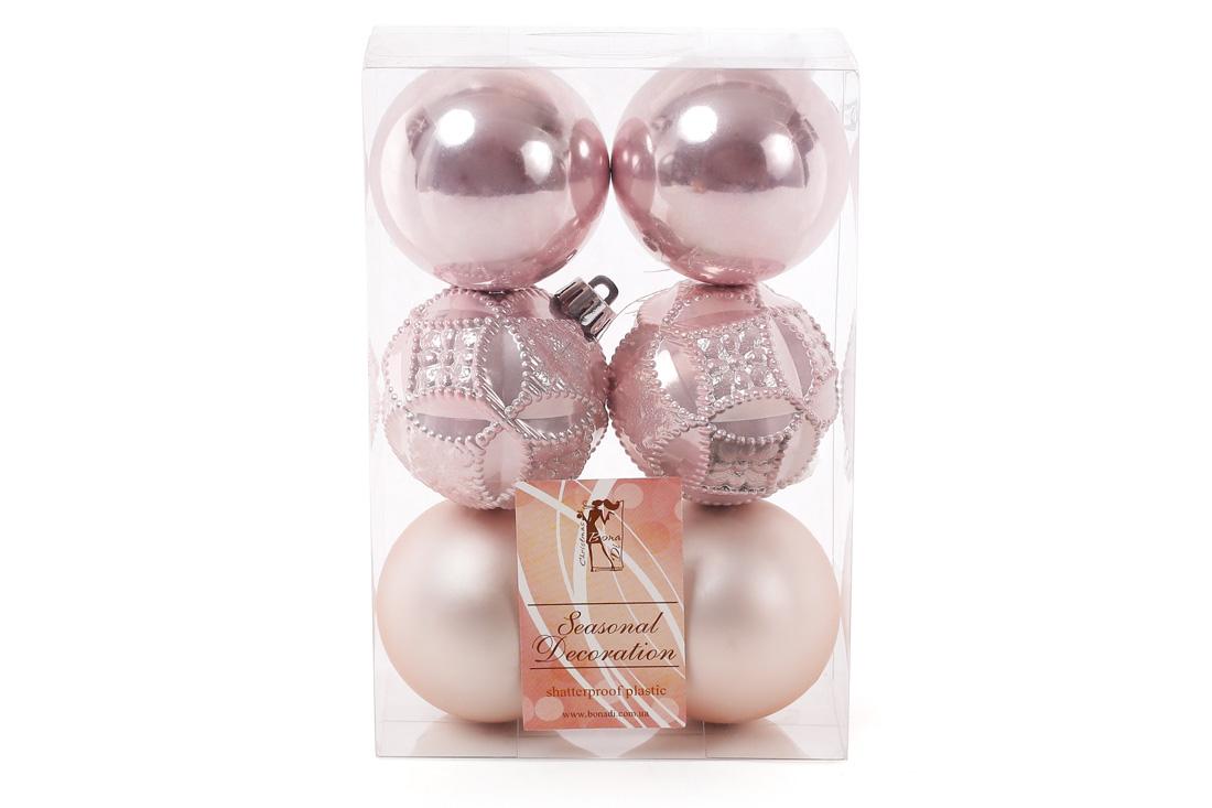 Набор елочых шаров 6см цвет - розовый 6шт: перламутр матовый перламутр с рельефом - по 2шт BonaDi 147-234