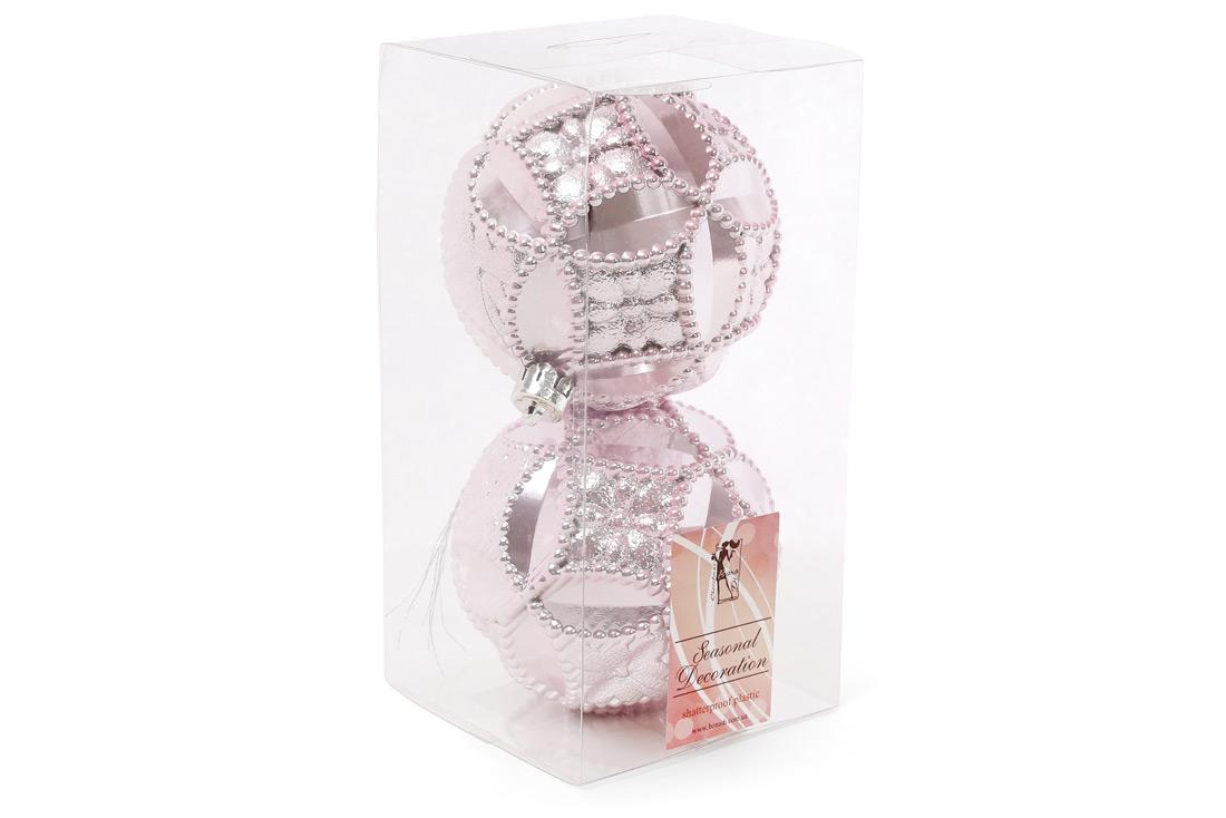 Набор елочных шаров с рельефом 10см цвет - розовый 2 шт: перламутр BonaDi 147-241