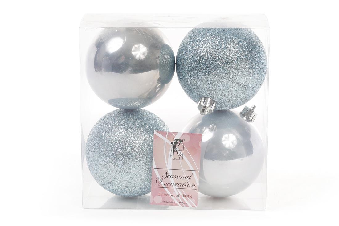Набор елочных шаров 8см, цвет - голубой, 4 шт: 2 шт - глитер, 2 шт - перламутр