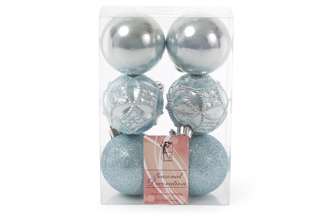Набор елочных шаров 6см цвет - голубой 6 шт: глитер перламутр перламутр с рельефом - по 2 шт BonaDi 147-284