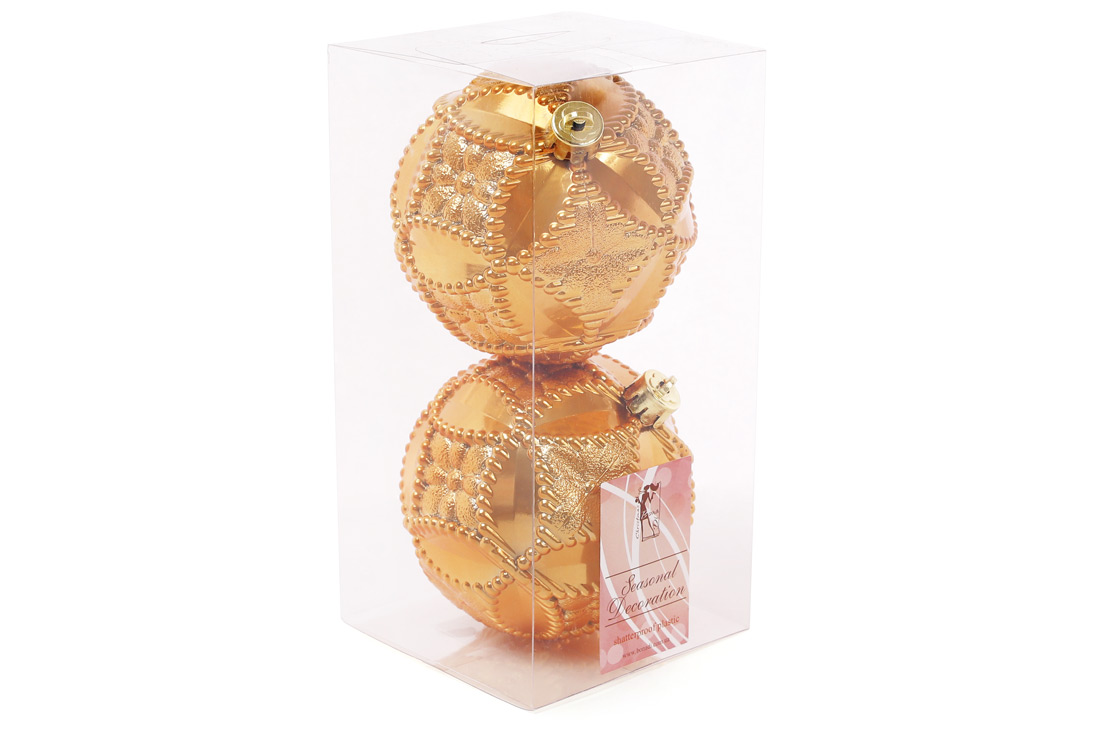 Набор елочных шаров с рельефом 10см цвет - охра 2 шт: перламутр BonaDi 147-430