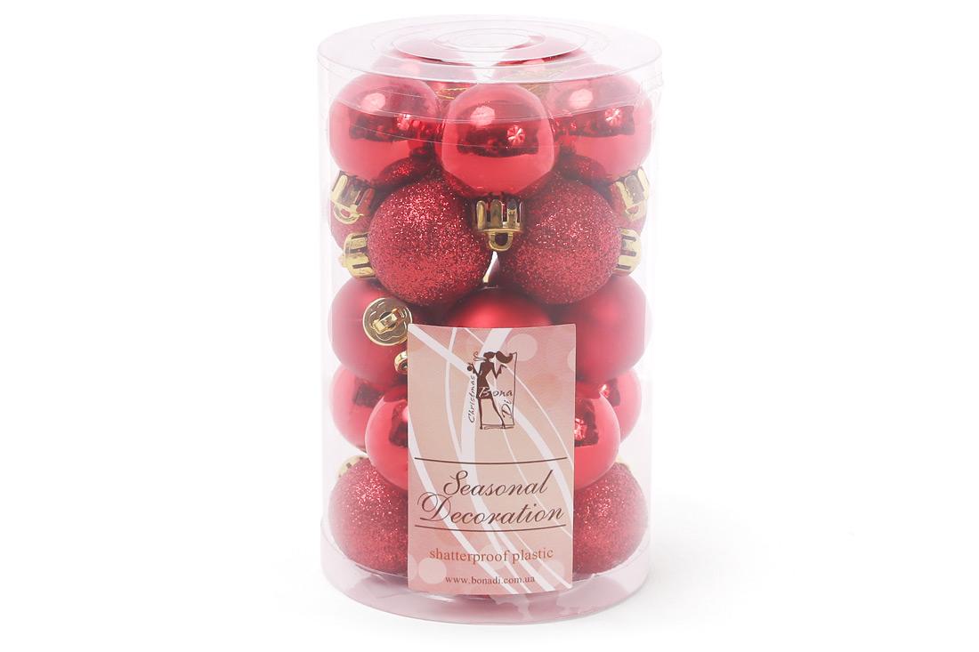 Набор елочых шаров 3см цвет - красный 25шт: 5шт - матовый 10шт - глиттер 10шт - глянец BonaDi 147-470