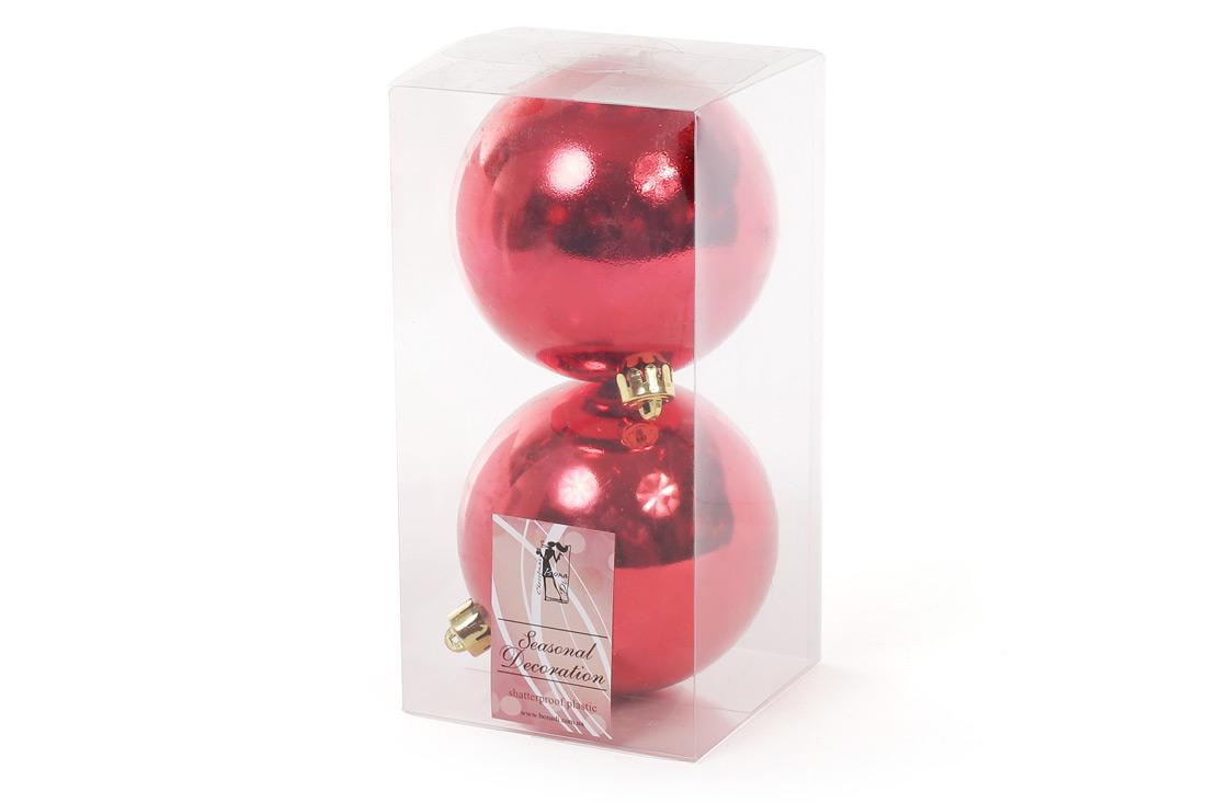 Набор елочных шаров 10см 2шт цвет - красный глянец BonaDi 147-495
