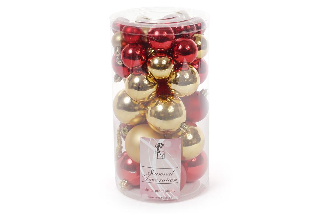 Набор елочых шаров цвет - золото с красным 40шт - 6см 5см 4см 3см: 3шт - красный глянец 3шт - золото глянец 2шт - красный матовый 3шт - золото матовый для каждого размера BonaDi 147-585