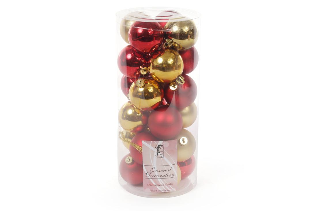 Набор елочных шаров, 6см, 24шт; цвет - золото с красным; матовый, глянец - по 6шт в каждом цвете