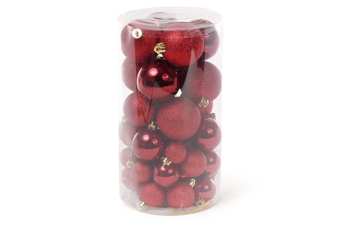 Набор елочых шаров цвет - бордо 40шт - 6см 5см 4см 3см: 5шт - глянец 5шт - глиттер для каждого размера BonaDi 147-594