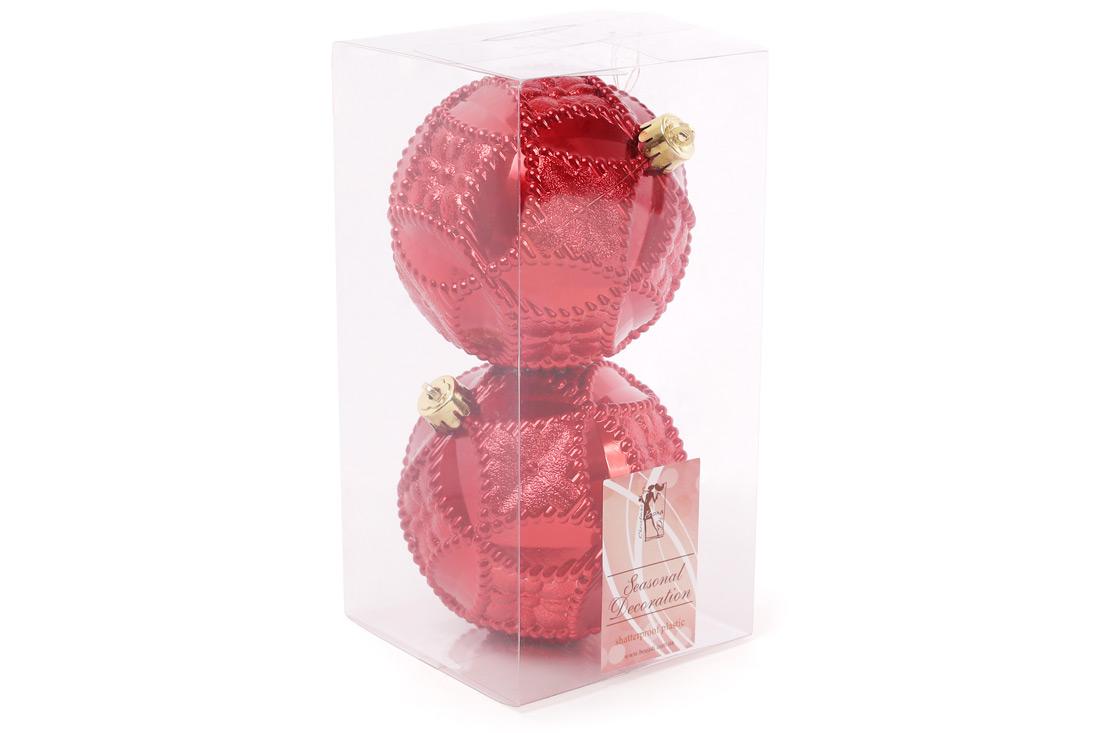 Набор елочных шаров с рельефом 10 см цвет - красный 2шт: перламутр BonaDi 147-727