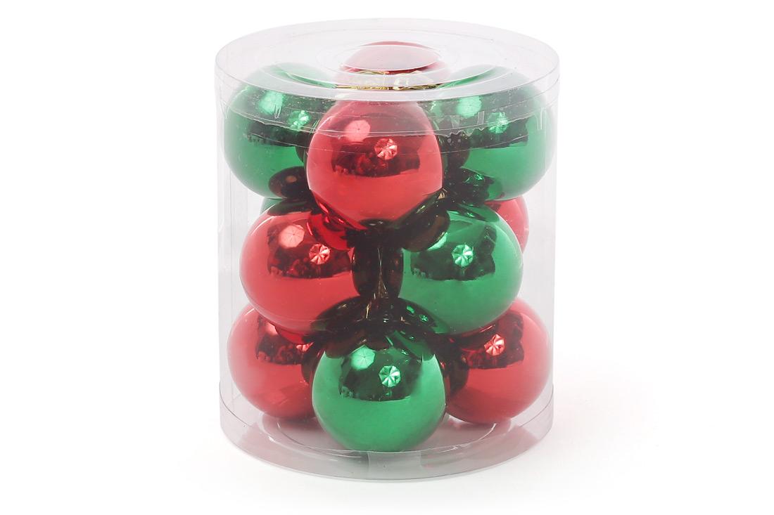 Набор елочных шаров 4см Рождественский 12шт: микс двух цветов красный и зеленый по 6 шт в каждом цвете BonaDi 147-730
