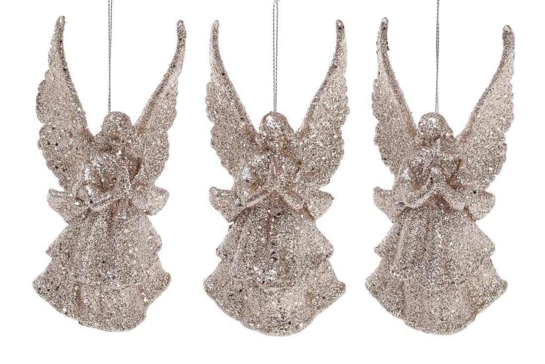 Елочное украшение Ангел, 3 дизайна, цвет - шампань глитер