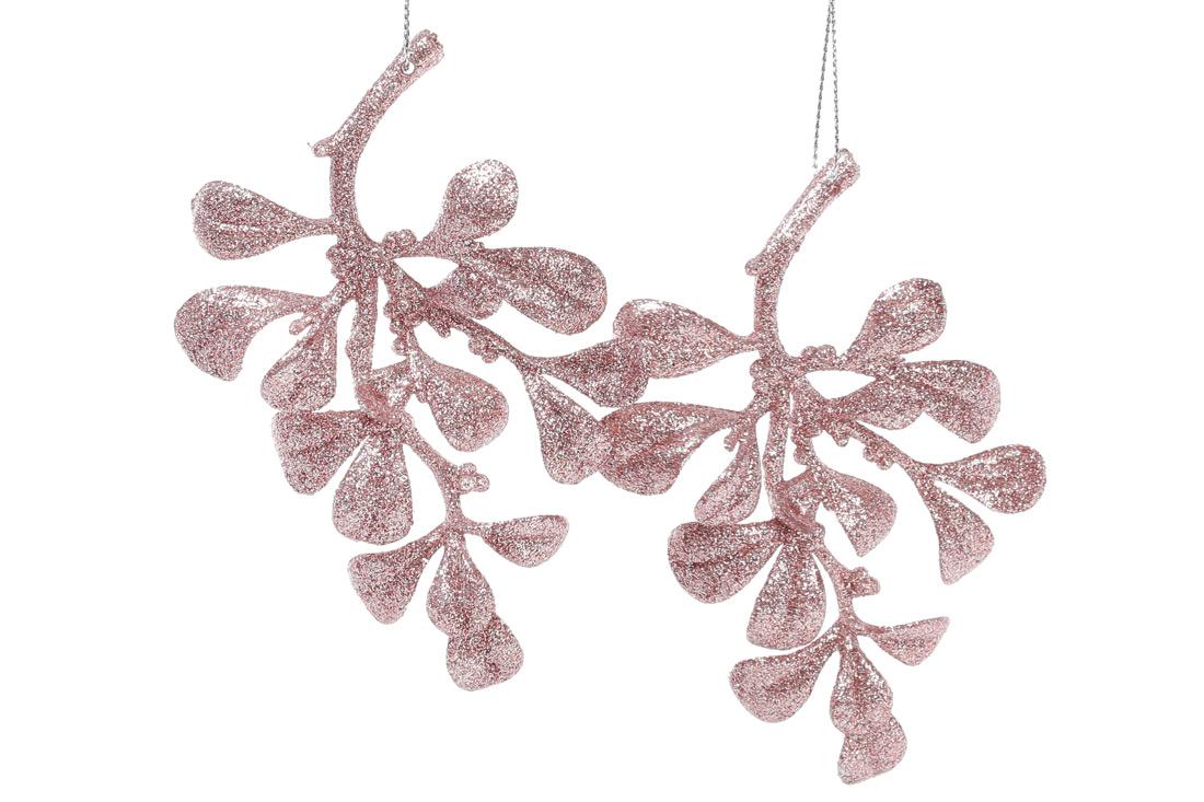 Набор елочных украшений Ветка, 2 шт, цвет -нежно-розовый глитер