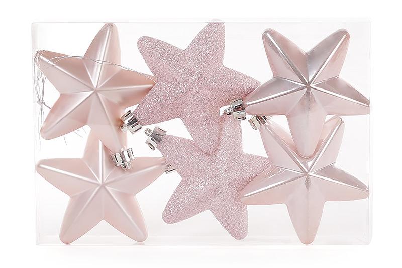 Набор елочных украшений Звезды 7.5см, цвет - розовый, 6 шт; перламутр, мат, глитер - по 2 шт