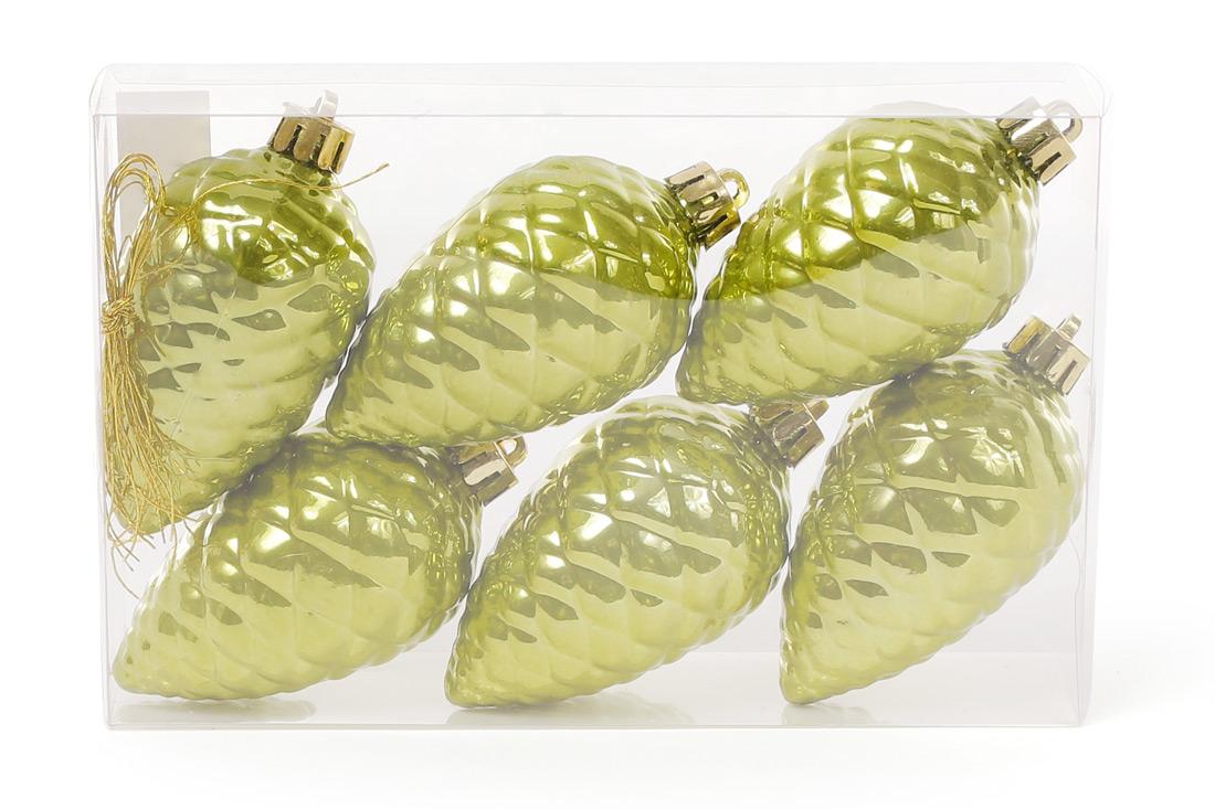 Набор шишек, 6см, цвет - оливковый зеленый, перламутр, 6шт