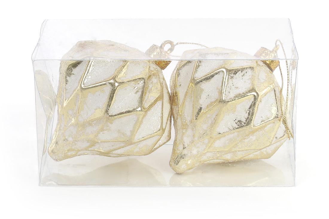 Набор (2шт) елочных украшений 8см с рельефом, цвет - белый с золотом