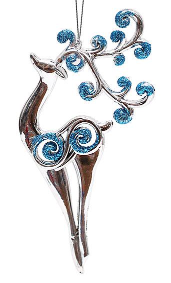 Елочное украшение Олень 17см, цвет - серебро с синим