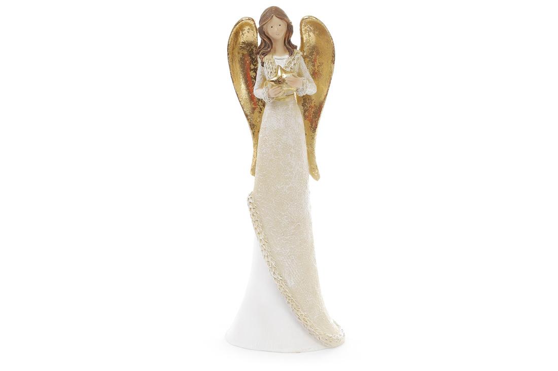 Декоративная фигурка Ангел 30см, цвет - белый с золотом