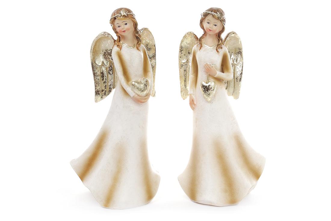 Декоративная фигурка Ангел 17.5см, 2 вида, цвет - шампань