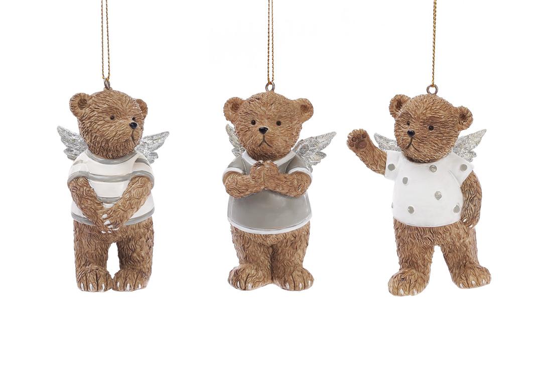 Декоративная статуэтка-подвеска Мишки-ангелочки 8см