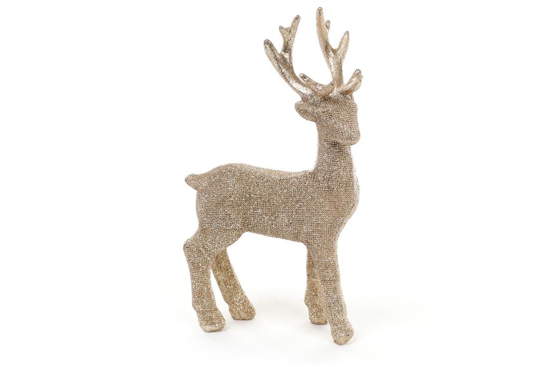 Декоративная статуэтка олень 16см, цвет - шампань