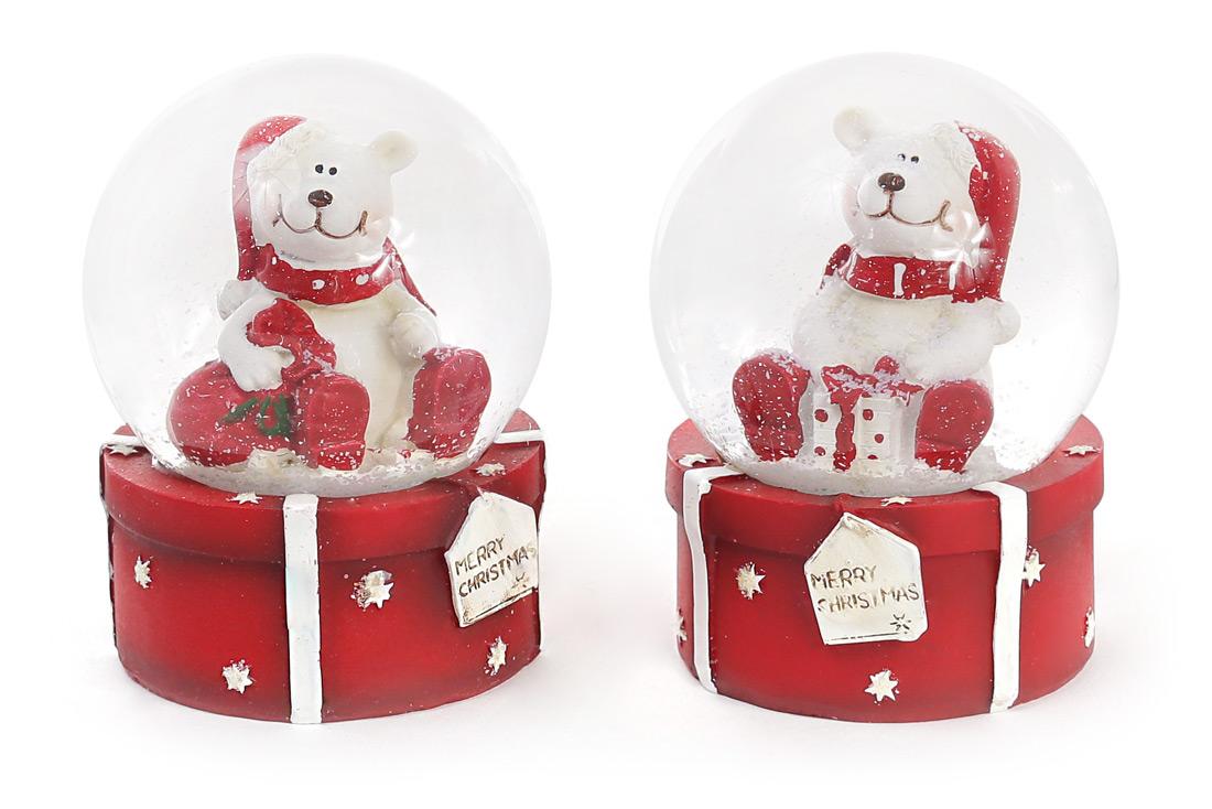 Декоративный водяной шар 9см Мишка на подарке, 2 вида