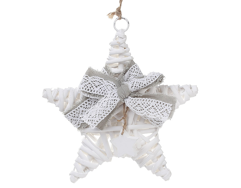 Новогодний подвесной декор из ивы Звезда 20см с серым бантом