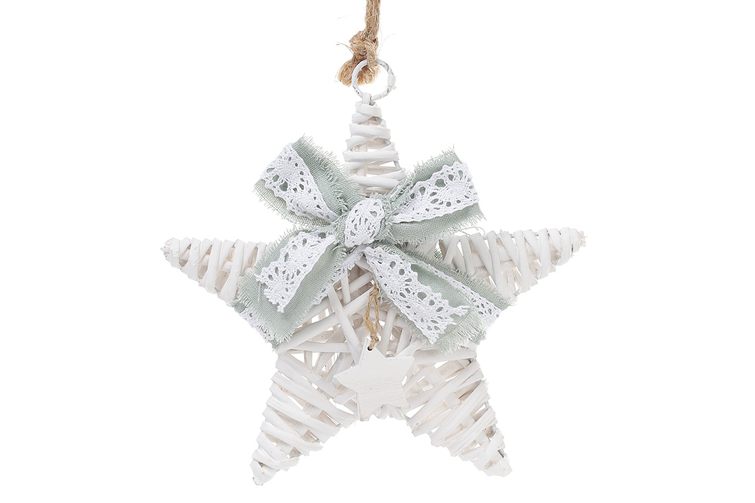 Новогодний подвесной декор из ивы Звезда 20см с мятным бантом