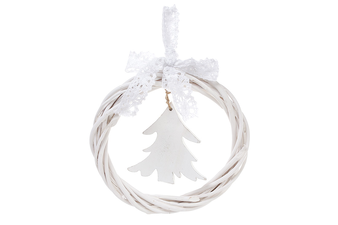 Новогодний подвесной декор из ивы Венок 15см Елка