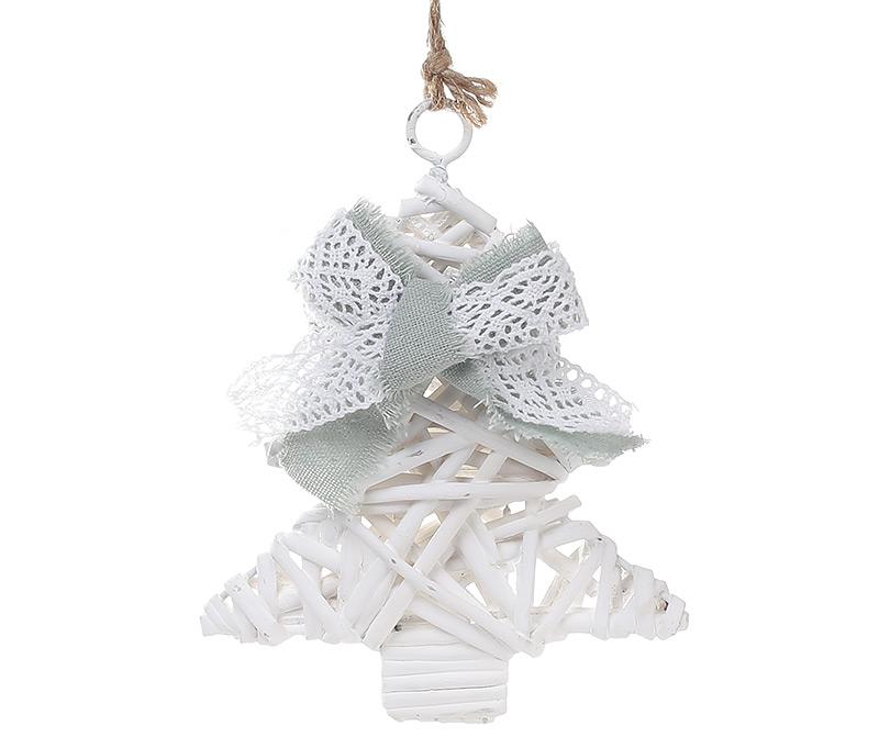 Новогодний подвесной декор из ивы Елка 15см с мятным бантом