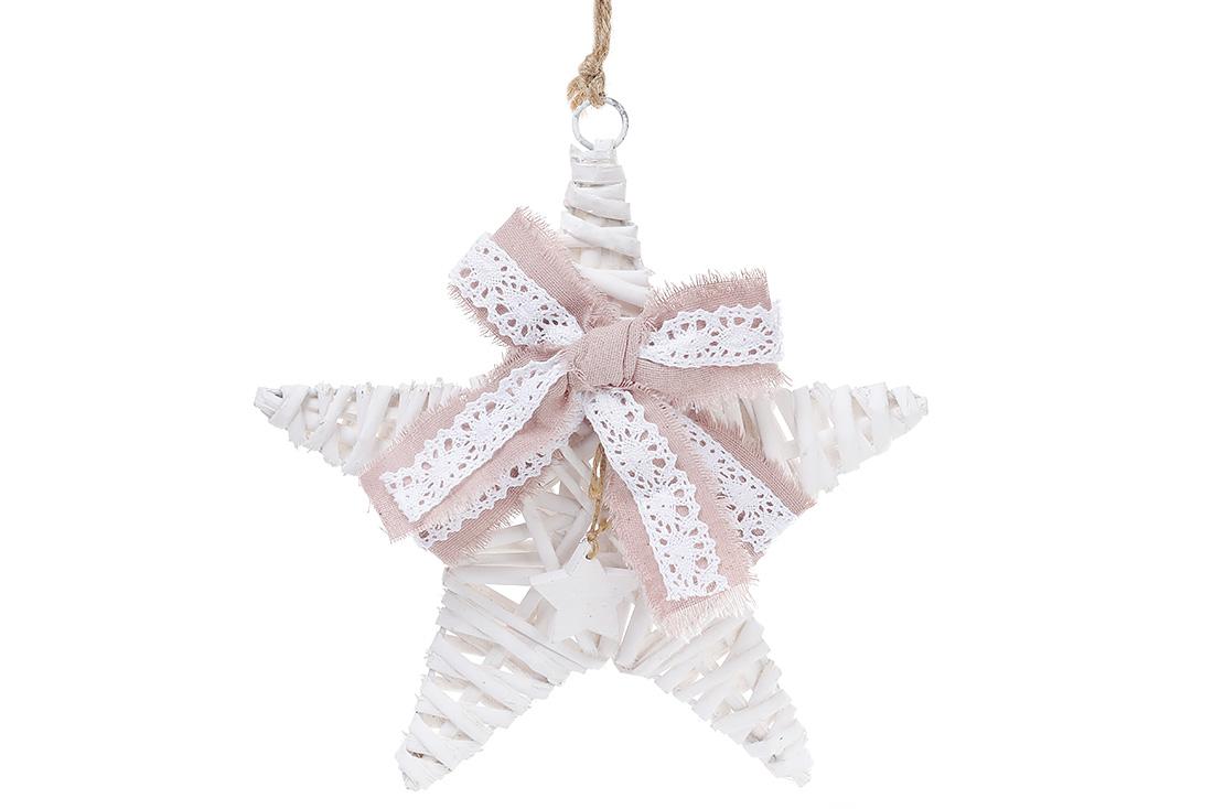 Новогодний подвесной декор из ивы Звезда 25см с розовым бантом