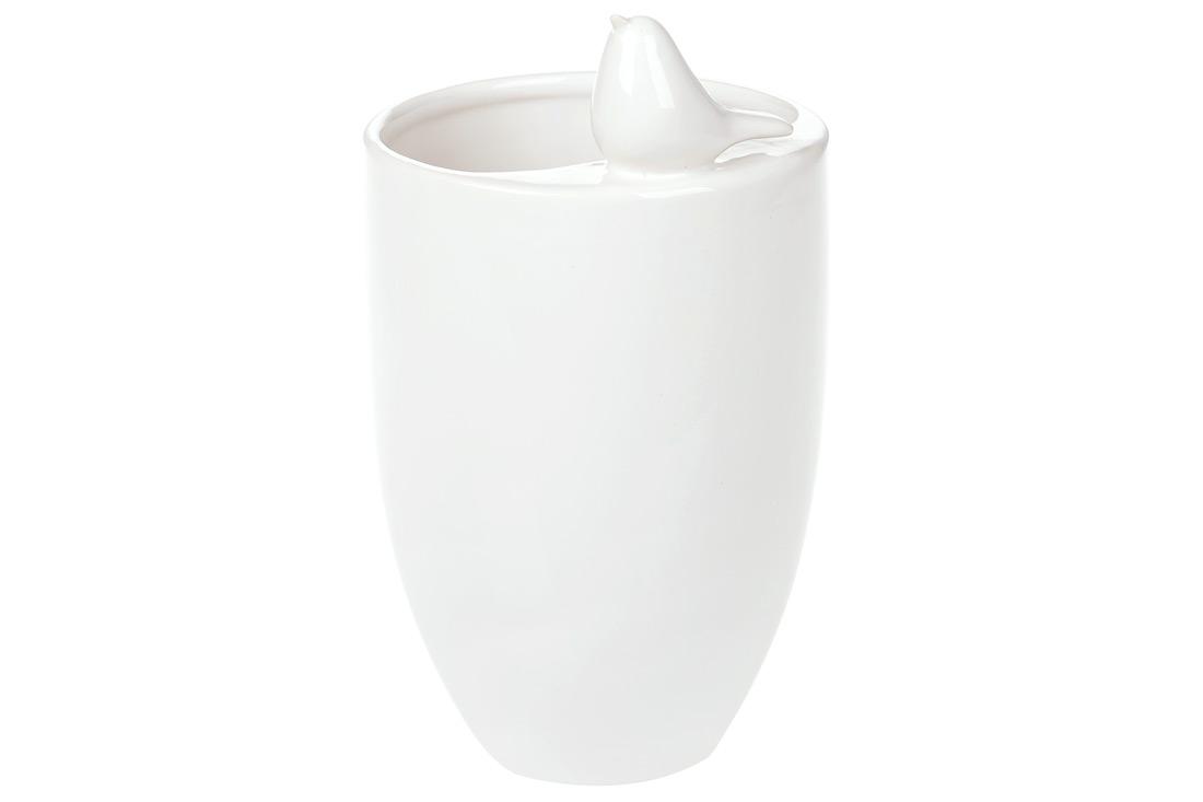 Ваза керамическая с декором Птичка цвет белый 185см BonaDi 731107