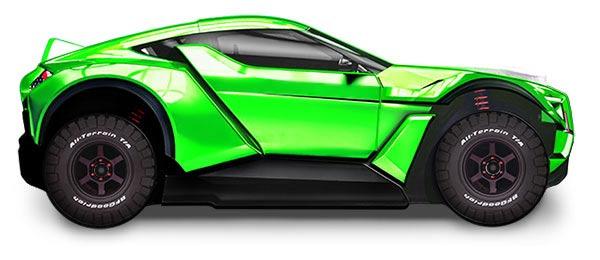 Кровать-машина зеленого цвета