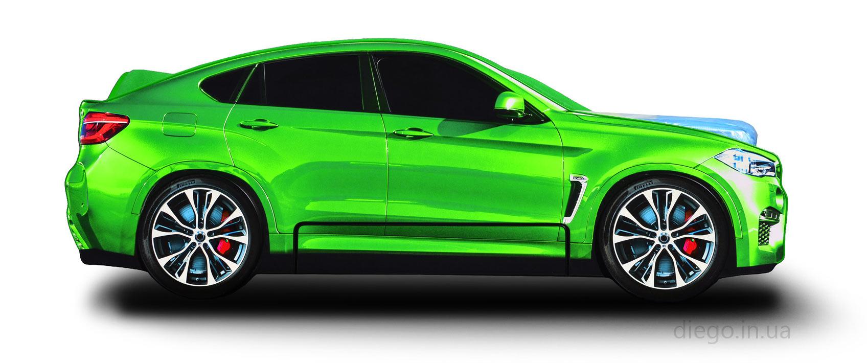 Кровать машина Cross зеленого цвета