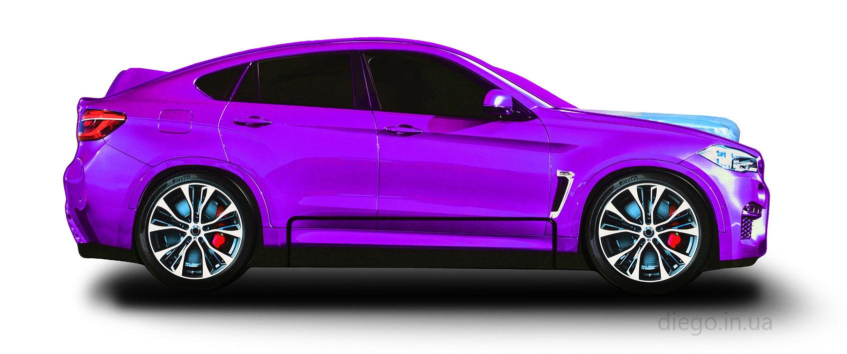 Кровать машина фиолетового цвета