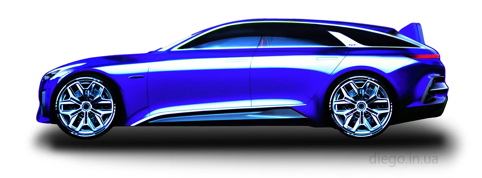 Кровать машина Universal GT синего цвета