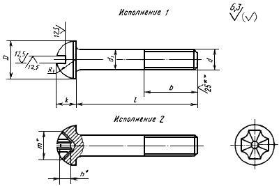 ГОСТ 17473-80 Винты с полукруглой головкой классов точности А и В. Конструкция и размеры (с Изменениями N 1, 2)
