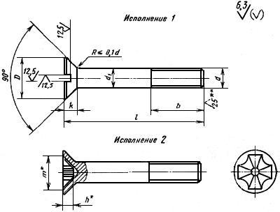 ГОСТ 17475-80 Винты с потайной головкой классов точности А и В. Конструкция и размеры (с Изменениями N 1, 2, с Поправкой)