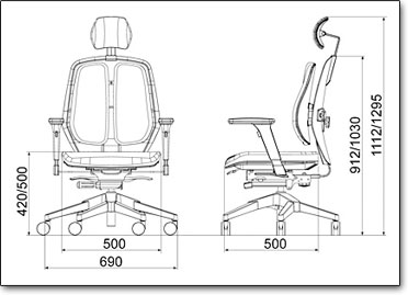 Компьютерное кресло Duorest Alpha A50H ― Размеры
