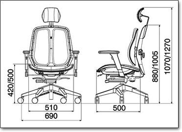 Компьютерное кресло Duorest Alpha A80H ― Размеры
